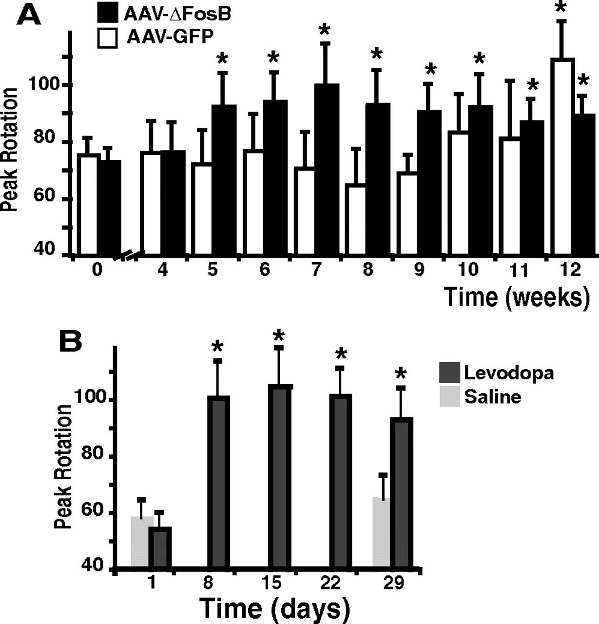 Striatal Overexpression of ΔFosB Reproduces Chronic Levodopa