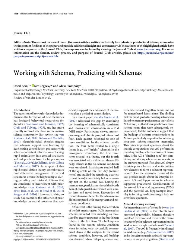 Working with Schemas, Predicting with Schemas | Journal of