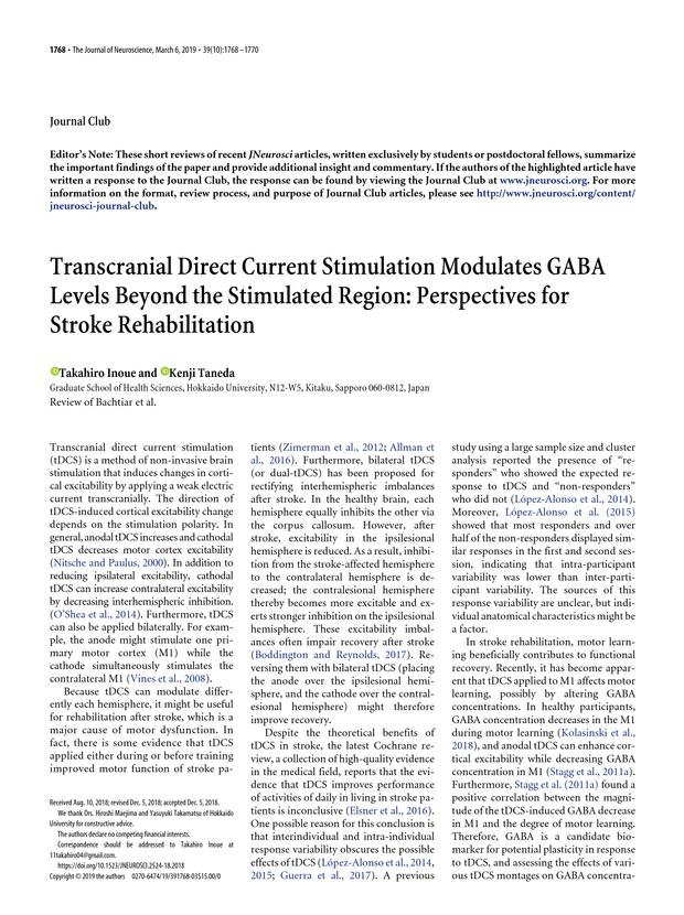 Transcranial Direct Current Stimulation Modulates GABA Levels Beyond